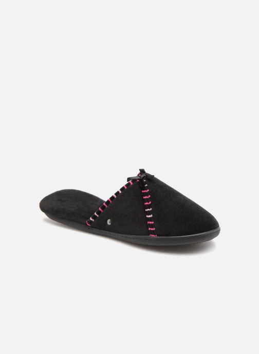 Slippers Isotoner Mule velours semelle ergonomique Black detailed view/ Pair view