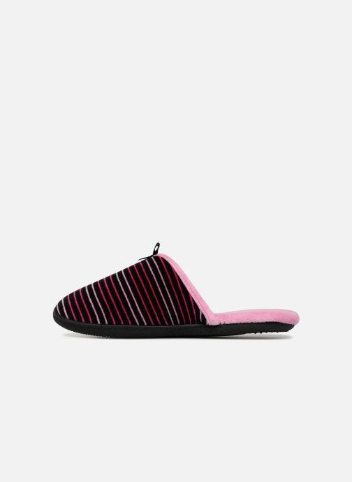 Slippers Isotoner Mule velours semelle ergonomique Pink front view