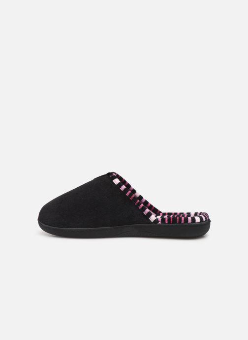 Pantoffels Isotoner Mule velours semelle ergonomique Zwart voorkant
