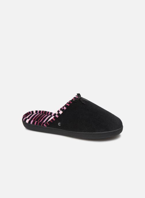 Hjemmesko Isotoner Mule velours semelle ergonomique Sort detaljeret billede af skoene