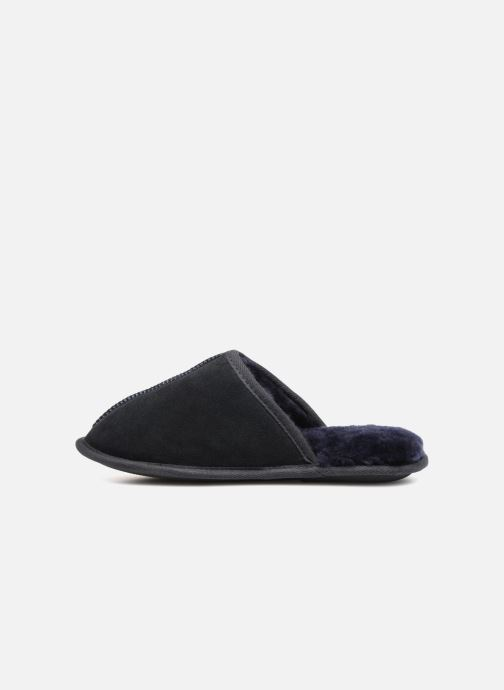 Slippers Isotoner Mule cuir et fourrure H Blue front view
