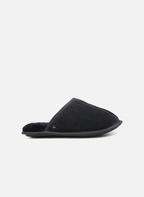 Slippers Isotoner Mule cuir et fourrure H Blue back view