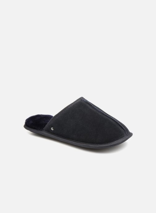 Chaussons Isotoner Mule cuir et fourrure H Bleu vue détail/paire
