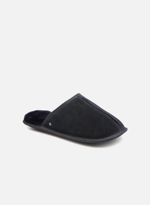 Slippers Isotoner Mule cuir et fourrure H Blue detailed view/ Pair view
