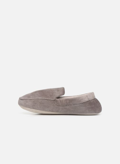 Slippers Isotoner Mocassin velours H Grey front view