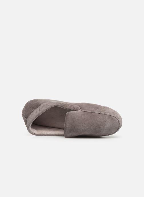 Hausschuhe Isotoner Mocassin velours H grau ansicht von links