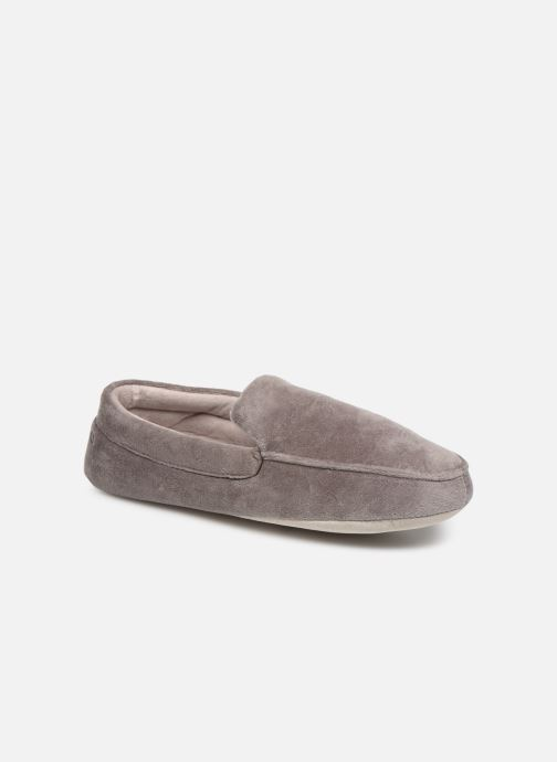Slippers Isotoner Mocassin velours H Grey detailed view/ Pair view
