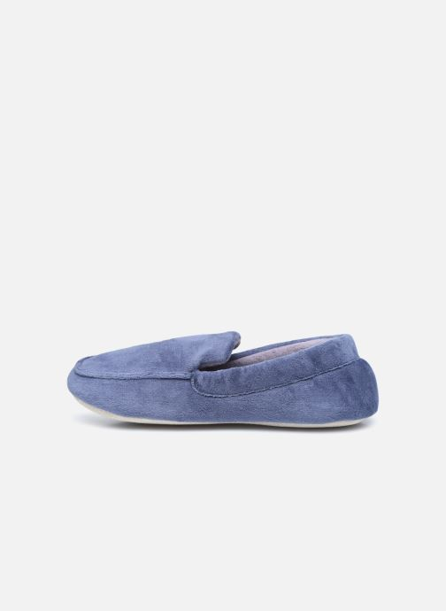 Pantuflas Isotoner Mocassin velours H Azul vista de frente