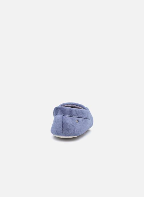Pantuflas Isotoner Mocassin velours H Azul vista lateral derecha