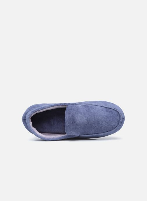 Pantuflas Isotoner Mocassin velours H Azul vista lateral izquierda