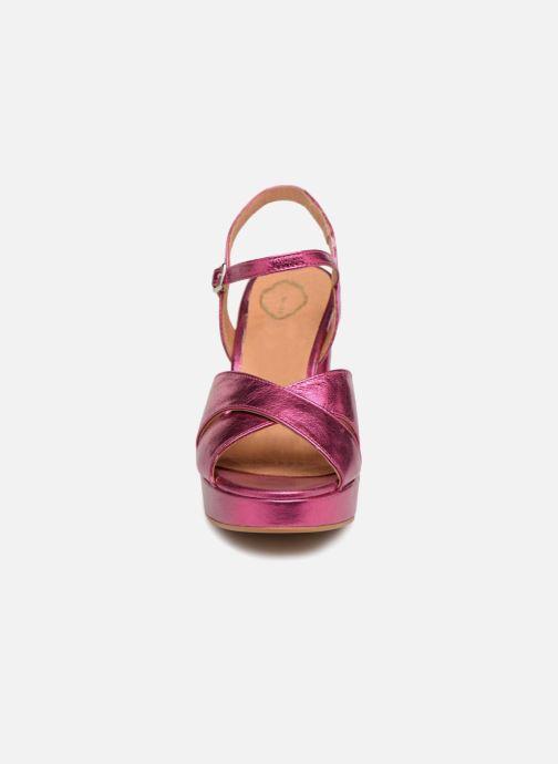 Sandales et nu-pieds Apologie CRUCE Rose vue portées chaussures