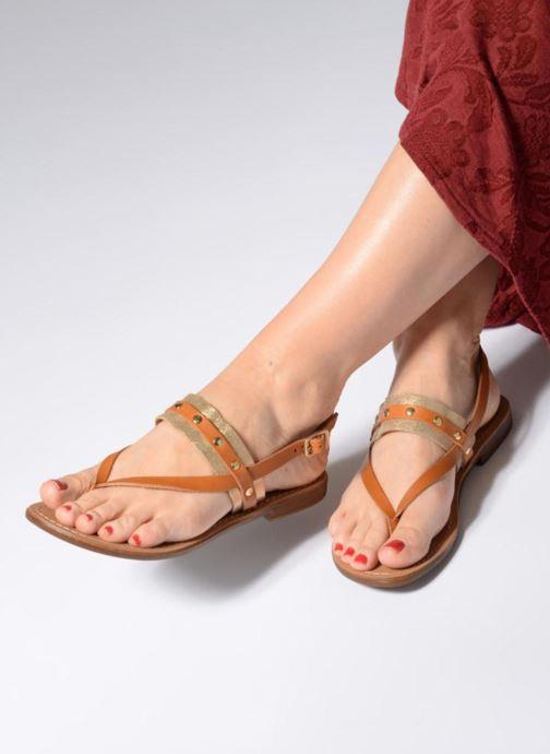 Sandales et nu-pieds Pieces ABELLE LEATHER SANDAL Marron vue bas / vue portée sac