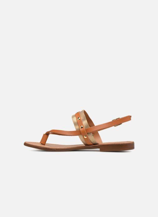 Sandales et nu-pieds Pieces ABELLE LEATHER SANDAL Marron vue face