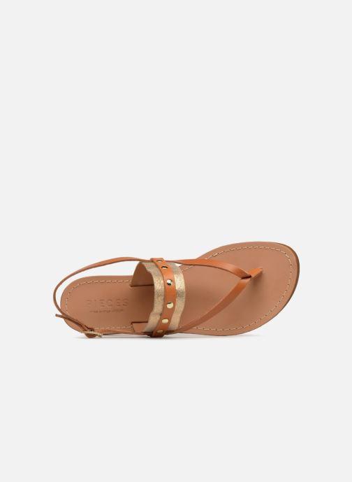 Sandales et nu-pieds Pieces ABELLE LEATHER SANDAL Marron vue gauche