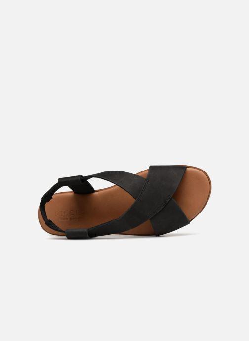 Sandalias Pieces MALU LEATHER SANDAL Negro vista lateral izquierda