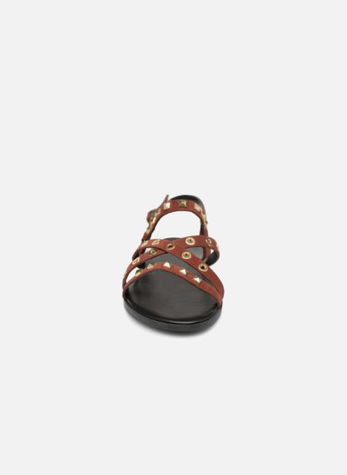 Sandals Pieces NANTALE SUEDE SANDAL Burgundy model view