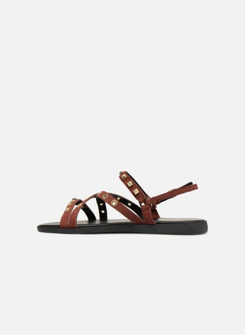 Sandals Pieces NANTALE SUEDE SANDAL Burgundy front view