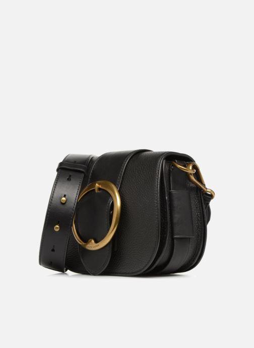 Sacs à main Polo Ralph Lauren LENNOX BELT SADDLE Noir vue portées chaussures
