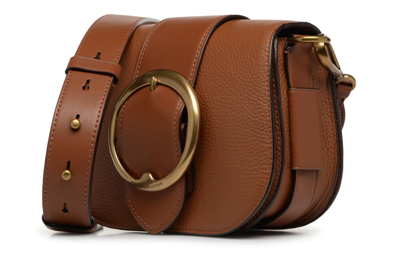 Sacs à main Polo Ralph Lauren LENNOX BELT SADDLE Marron vue portées chaussures