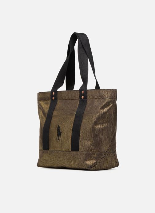 Handbags Polo Ralph Lauren PP TOTE CANVAS Bronze and Gold model view