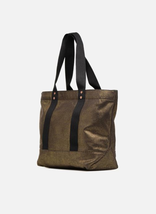 Handbags Polo Ralph Lauren PP TOTE CANVAS Bronze and Gold view from the right