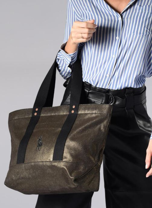 Handbags Polo Ralph Lauren PP TOTE CANVAS Bronze and Gold view from underneath / model view