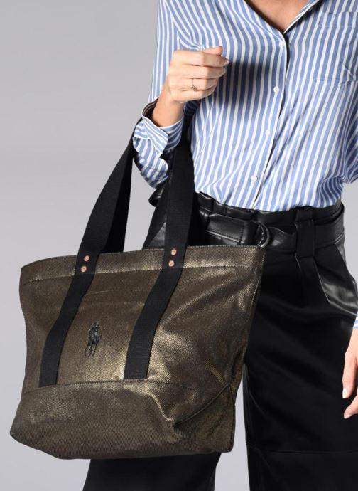 Sacs à main Polo Ralph Lauren PP TOTE CANVAS Or et bronze vue bas / vue portée sac