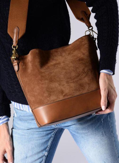 Handbags Polo Ralph Lauren SULLIVAN SMALL BUCKET Burgundy view from underneath / model view