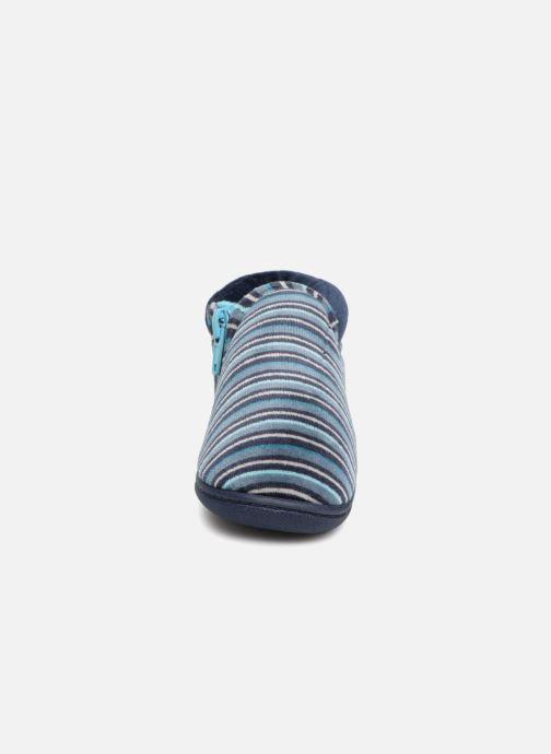 Slippers Isotoner Bottillon Zip Velours Blue model view