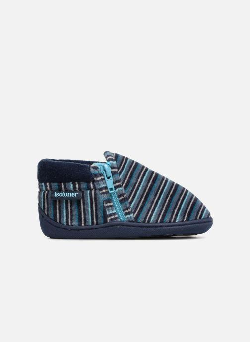 Slippers Isotoner Bottillon Zip Velours Blue back view