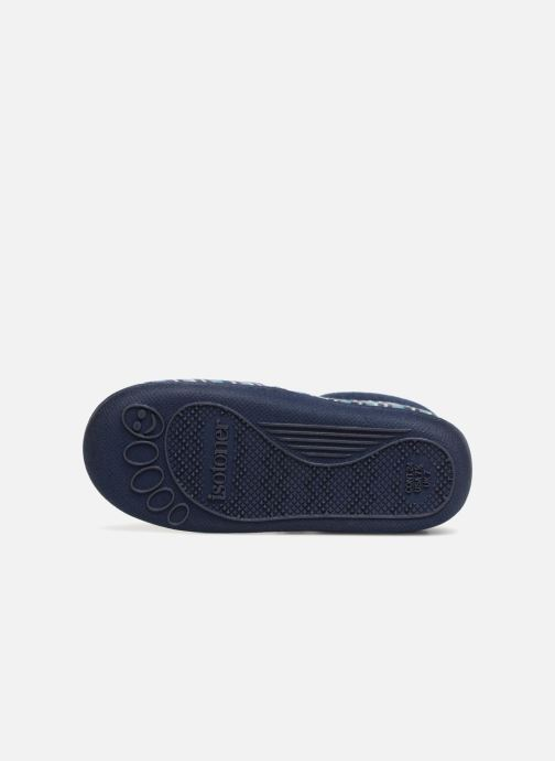 Slippers Isotoner Bottillon Zip Velours Blue view from above