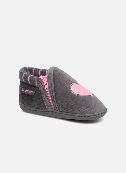 Slippers Isotoner Bottillon Zip Polyvelours Grey detailed view/ Pair view