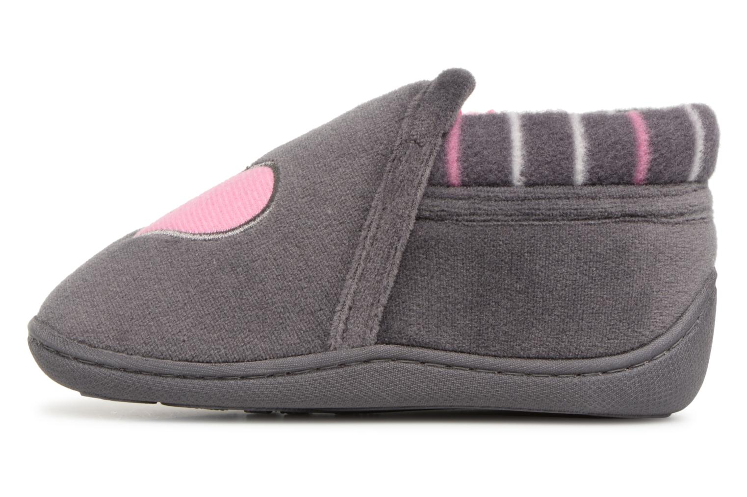 Slippers Isotoner Bottillon Zip Polyvelours Grey front view