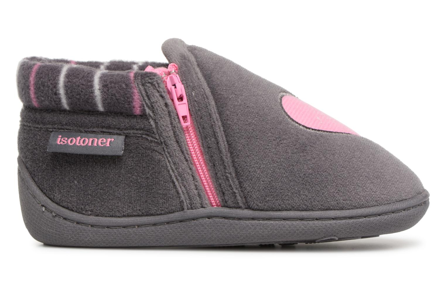 Slippers Isotoner Bottillon Zip Polyvelours Grey back view