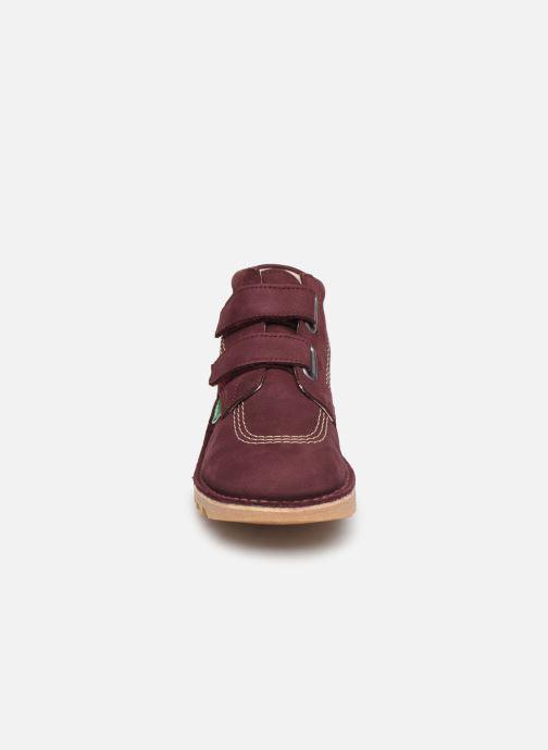 Bottines et boots Kickers Neovelcro Violet vue portées chaussures