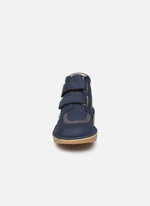 Stivaletti e tronchetti Kickers Neovelcro Azzurro modello indossato