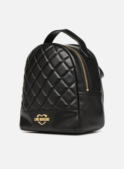 Zaini Love Moschino Mini Super Quillted Backpack Nero modello indossato