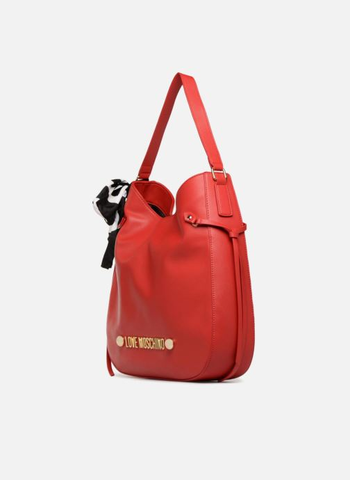 Sacs à main Love Moschino Lettering Hobo Rouge vue portées chaussures