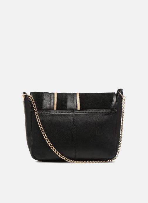Handtaschen Pieces Krystal Leather Crossbody schwarz ansicht von vorne