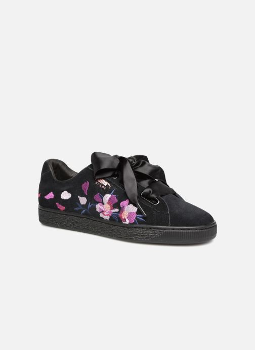 info for bfedb 6c10d ... Chaussure femme · Puma femme  Suede Heart Flowery. Baskets Puma Suede  Heart Flowery Noir vue détail paire