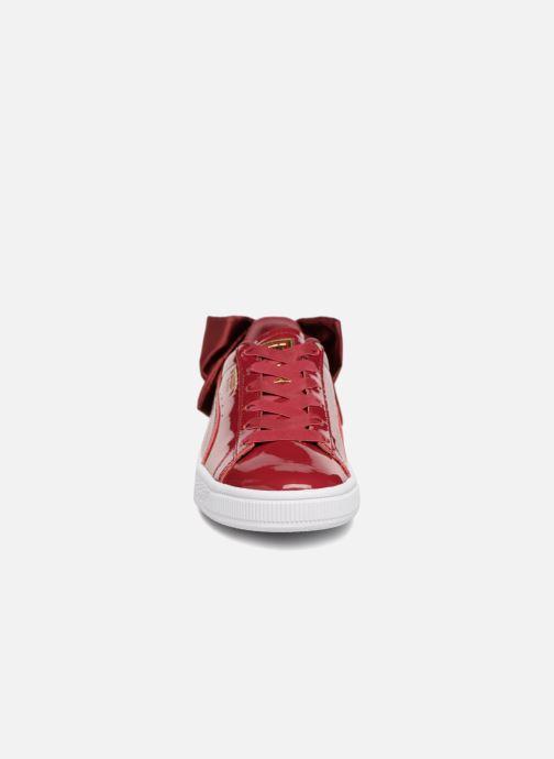 Sneaker Puma Basket Bow Patent rot schuhe getragen