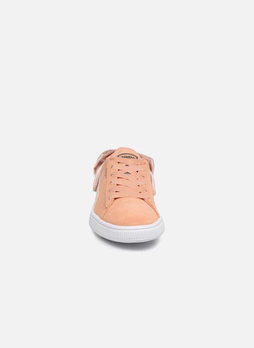 Baskets Puma Basket Bow Satin Orange vue portées chaussures