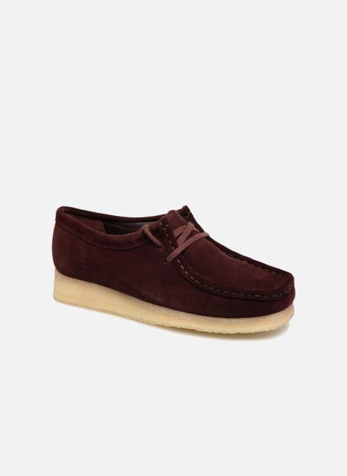 Chaussures à lacets Clarks Originals Wallabee. Bordeaux vue détail/paire