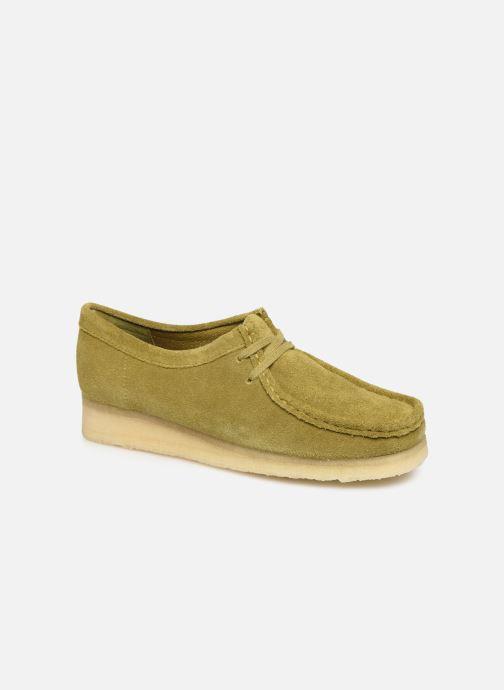 Chaussures à lacets Clarks Originals Wallabee. Vert vue détail/paire