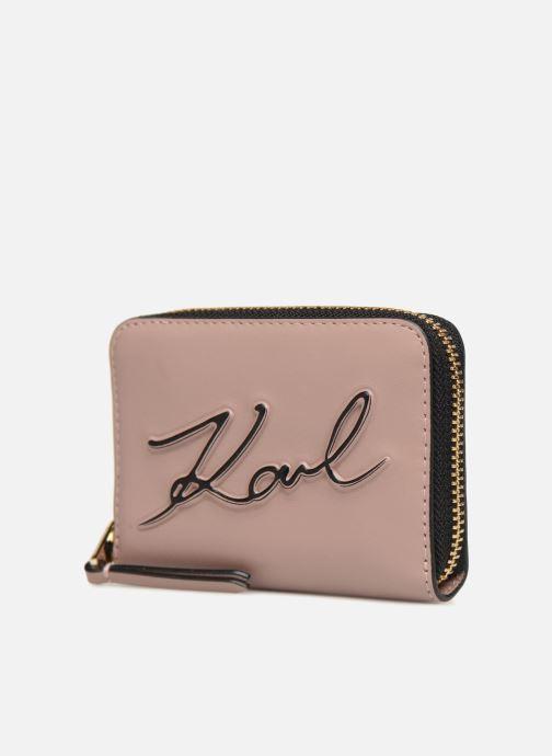 Petite Maroquinerie KARL LAGERFELD K/Signature Zippé Rose Poudré Rose vue portées chaussures