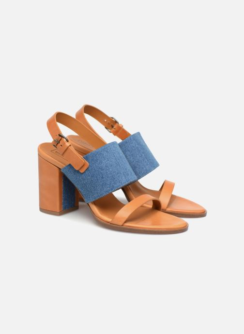 Sandalias Veronique Branquinho Sandale à talon bold denim Marrón vista 3/4