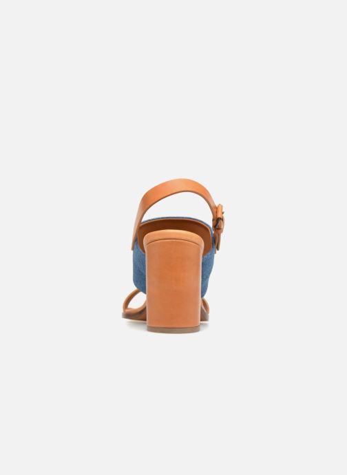 Sandales et nu-pieds Veronique Branquinho Sandale à talon bold denim Marron vue droite