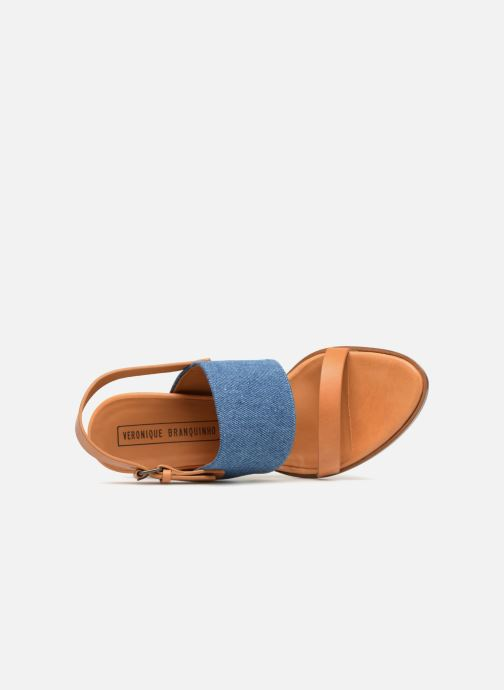 Sandalias Veronique Branquinho Sandale à talon bold denim Marrón vista lateral izquierda