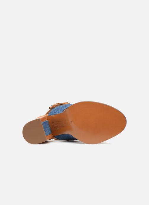 Sandales et nu-pieds Veronique Branquinho Sandale à talon bold denim Marron vue haut