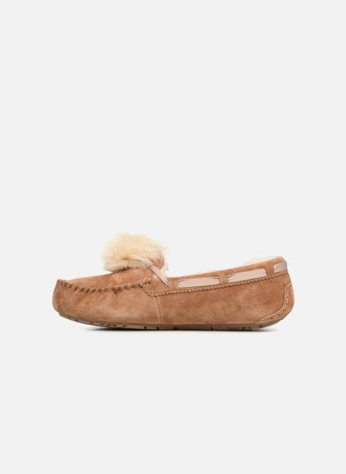 Pantoffels UGG Dakota Pom Pom Bruin voorkant